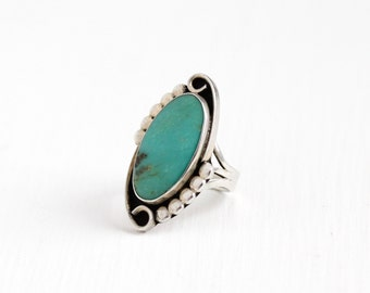 Sale - Vintage Sterling Silver Large Turquoise Ring - Size 6 3/4 Retro Southwestern Teal Green Oval Gem Stud Design Statement Jewelry