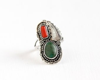 Sale - Vintage Sterling Silver Green Turquoise Coral Ring- Size 9 Retro 1960s Native American Tribal Southwestern Flower Leaf Nature Jewelry