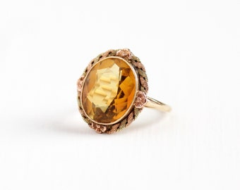 Vintage 10k Rose & Yellow Gold Genuine Citrine Ring - Size 6 Art Deco 1930s 5+ Carats Orange Yellow Gemstone Two Tone Flower Fine Jewelry