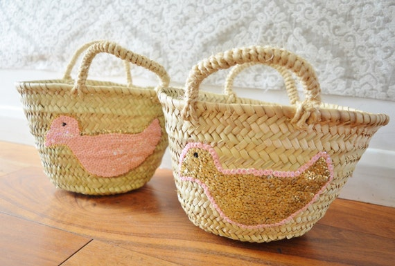 February Trend- Kids Basket Panier Pink -great for Storage, nursery, beach, picnic, holiday, Marrakech Basket Bag