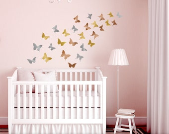 Butterfly Wall Decor for Nursery, Butterfly Wall Decals in Metallic Gold, Silver, Copper, Realistic Butterfly Silhouettes