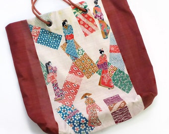 Vintage Tote Bag in Japanese Kimono Fabric
