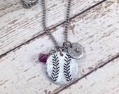 Baseball/Softball - Initial - Birthstone Hand-Stamped Charm Necklace - Sports