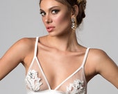 ALEXINA Bridal Ivory silk and embroidery Triangle soft Bra, bespoke crochet floral embroidery