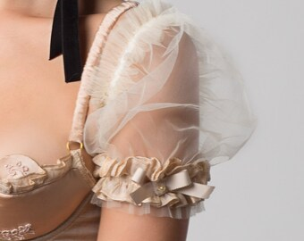 INESS Fairy Tale Cream tulle Ruffled puff sleeves , Victorian cup sleeves