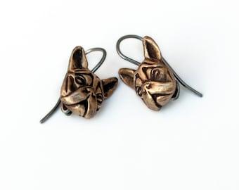 French bulldog niobium earrings