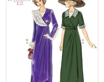 Edwardian Mock Wrap Dress Bib Belt Retro 1912 Titanic Cosplay Costume Butterick 6093 Uncut FF Sizes 6 - 14 Bust 30-36 Womens Sewing Pattern
