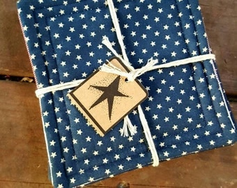Stars and Stripes Coasters, Reversible Set of 4, Americana Primitive with Ticking, Absorbent in Red, White, Blue, Handmade in NJ