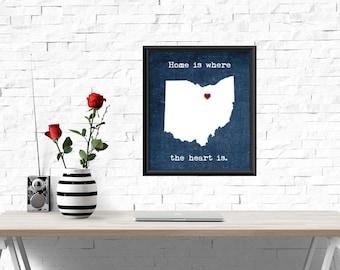 UNFRAMED Ohio print, Home is where the heart is quote, Ohio heart print, Ohio wall art, wall decor, Ohio decor, home decor, Ohio