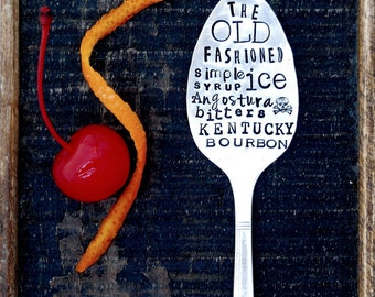 Old Fashioned Cocktail Recipe Spoon, Hand Stamped Sycamore Hill Signature Poster Art Style Fonts. Custom Tall Teaspoon. Classic Drink Recipe