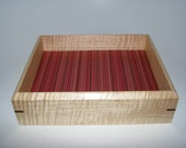 """Woman's Valet Tray in Tiger Maple. Wooden Tray Upholstered in Silk. 7.5"""" x 6"""" x 2"""""""