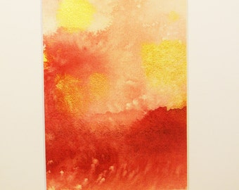 ORIGINAL watercolor painting, abstract art, Sunset on the Surf, rose-pink, coral red, scarlet, and metallic gold, matted 8x10 inches
