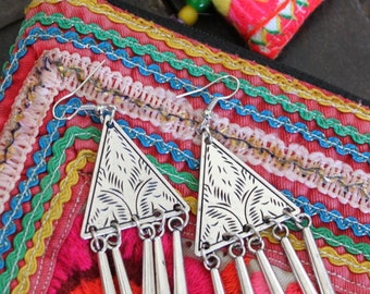 Thai inspired Triangle Tribal earrings with a dangle silver sticks Bohemian Ethnic Gypsy Boho chic style design by Inali