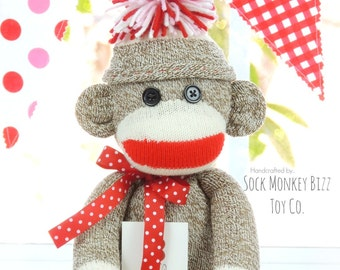 Traditional Sock Monkey Doll with Hat Child's Toy