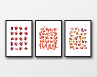 set of 3 prints, pink red floral watercolor prints, Mother's day gift for her, romantic gift, gifts for woman,