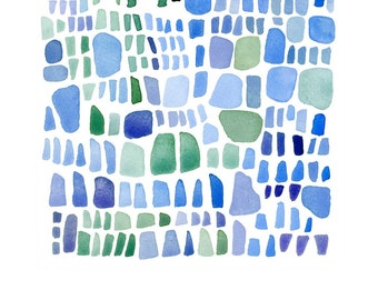 Sea glass abstract Blue watercolor painting, archival print,  watercolor painting