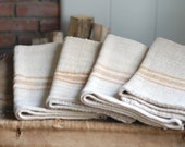 VINTAGE European Grain Sack - Gold Stripes - Rustic Texture