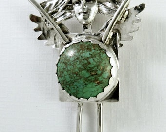 Wrynn Wears A Turquoise Moon - Up Cycled Sterling, Turquoise, And PMC - Women - Strength - Empowerment - Pendant - 1571