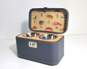 Upcycled Vintage Train Case Pet Feeder
