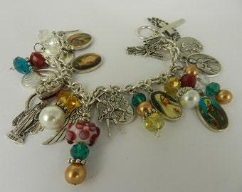 Religious  Beaded Bracelet Holy Medals 8 Inch Christian Charm Bracelet Jewelry Handmade  Saints Virgin
