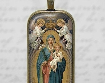 Madonna Holy Mother  Child Jesus Glass Tile Pendant Necklace Religious  Crowning Virgin Mary Jewelry