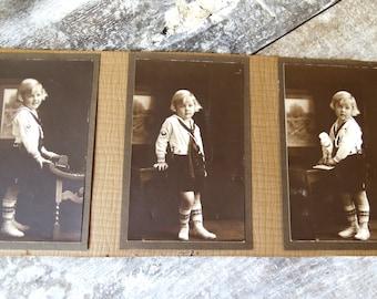 3 Sailor Boy Photos Framed - 1920s Blonde Haired Sailor Boy