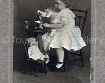 Digital Download, Doll's Tea Party, Childhood, Vintage Photo, Black & White Photo, Found Photo, Antique Photo, Printable