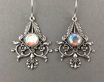 Classic Gothic Earrings With Elegant Flower And Vine Pendant And AB Crystal Rhinestones