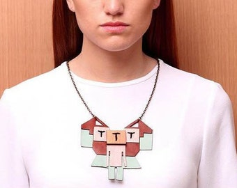 Torres Garcia leather Necklace (natural, cream and pink)