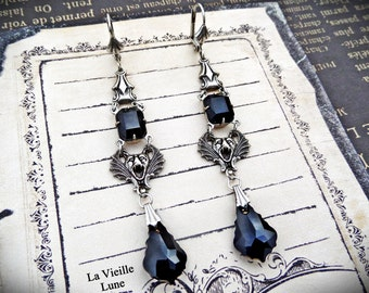 Jet Jewel Gothic Earrings, Black Victorian Earrings, Victorian Jewelry, Gothic Jewelry