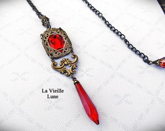 Ruby Art Deco Necklace, Red Jewel Necklace, Gothic Necklace, Victorian Jewelry