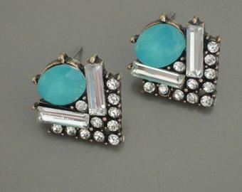 Art Deco Earrings - Aquamarine Earrings - Crystal Stud Earrings - Antique Gold Earrings - Blue Earrings - Bridal Earrings - Handmade