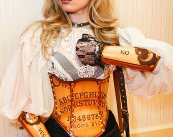 Ouija Hard Leather Corset + Wooden Planchette Necklace - Custom