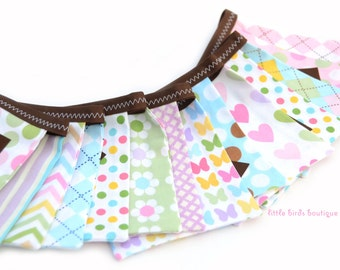 Last One! READY to SHIP! Reusable Happy Birthday Fabric Banner - Remix, Argyle, Hearts, Floral, Pastel, Pink, Blue by Ann Kelle