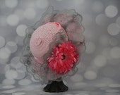 Tea Party Hat; Pink Easter Bonnet with Ribbon; Girls Sun Hat; Pink Easter Hat; Sunday Dress Hat; Derby Hat; 16246