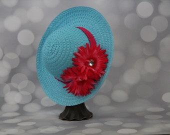 Tea Party Hat; Blue Easter Bonnet with Hot Pink Ribbon; Girls Sun Hat; Blue Easter Hat; Sunday Dress Hat; Derby Hat; 16282