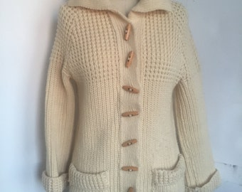 Cozy Wool Knit Cardigan with Pockets and Wooden Buttons