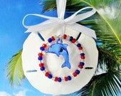 Patriotic sand dollar Christmas ornament blue dolphin nautical ornaments red white and blue ornament beach ornament nautical ornament
