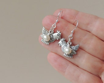 Chicken Charm Earrings, Hen Charms with Freshwater Pearl Eggs, Charm Jewellery, Chicken Hen Jewellery, Farm Animal, UK, 320