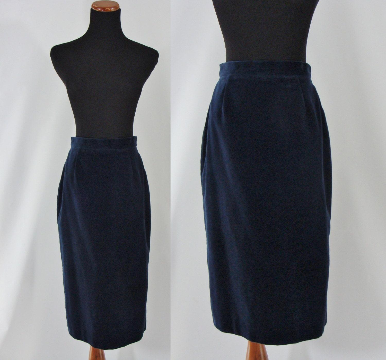 vintage seventies skirt 1970s blue velvet skirt 70s pencil