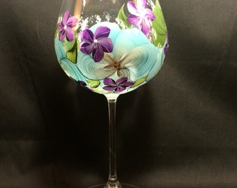 Hand Painted Wine Glass - Island Blossoms Blue - Violets