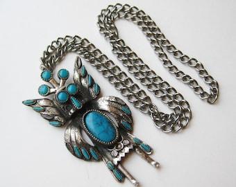 Vintage 60s Navajo Indian Style Faux Turquoise Sancrest Kachina Doll Pendant Necklace