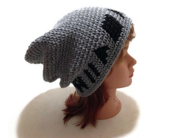 Press Play Pixel Slouchy Beanie Geeky Winter Hat Pixel Gamer Beanie Rewind Pause Play Stop Fast Forward VCR Button Hat Retro Pixel Hat