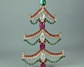 ON SALE, Vintage Rhinestone Christmas Red, Pink and Green Tree 1950's Czech Bohemian Tabletop Decoration