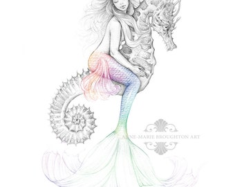 8x10 inch PRINT Mermaid Riding Seahorse Colour Splash Rainbow Tail Art Pencil Drawing Signed