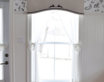 Arched valance with silhouettes of embroidered hares on natural linen Bespoke Choose your color Classic Linen and Black Window treatment