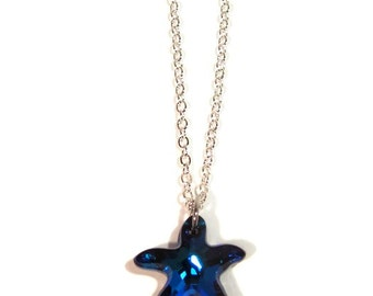 Swarovski Crystal Bermuda Blue Starfish Pendant with Silver Chain