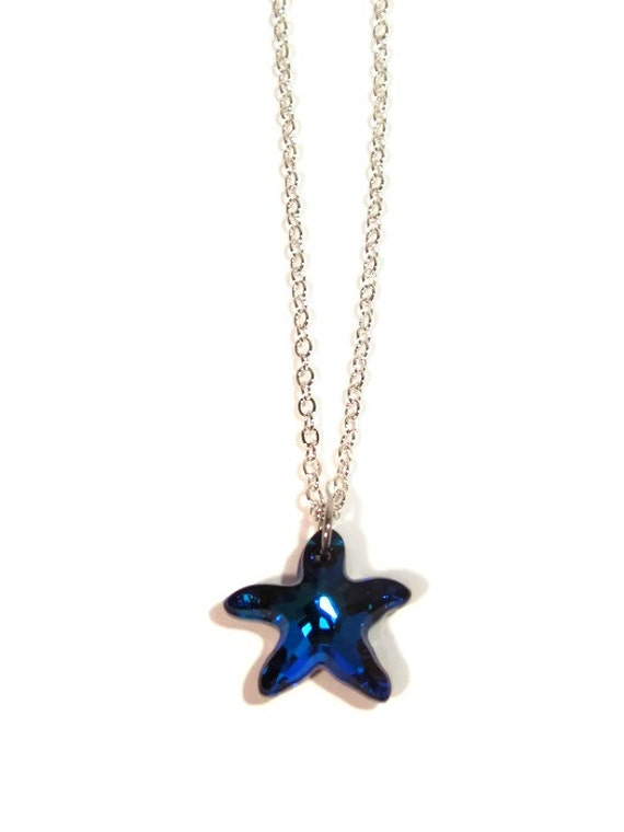 swarovski bermuda blue starfish pendant with silver