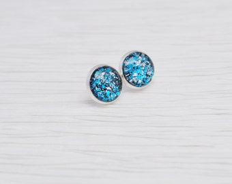 Blue Glitter Earrings, Blue Stud Earrings, Electric Blue, Glitter Stud Earrings, Nail Polish Jewelry, Faux Plugs, Metallic Stud Earrings