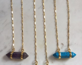 Double Point Gemstone Necklace-Turquoise Necklace, Opalite, Gold Layering Necklace, Gold Necklace, Layering Jewelry